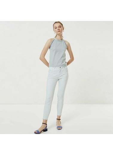 Yargıcı Fermuar Detaylı Denim Pantolon Mavi